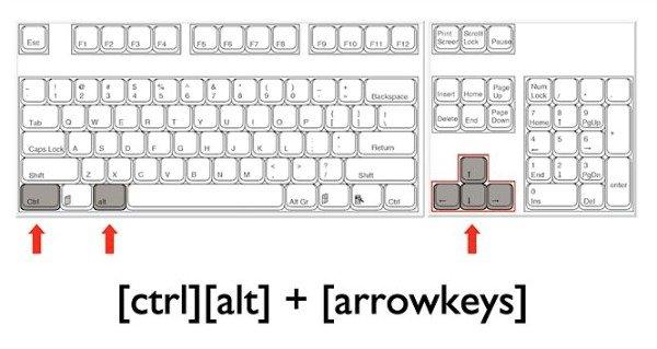 Как перевернуть экран на ноутбуке Windows 7 сочетание клавиш